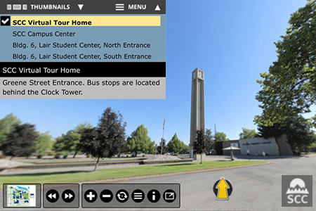 Virtual tour screen shot of SCC campus
