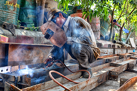 A welder at work