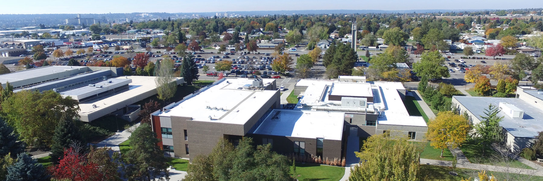 Aerial view showing part of the west side of the campus