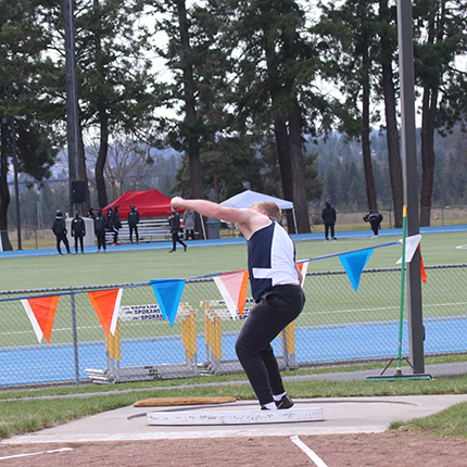 Shot put being thrown by Sasquatch Track and Field.