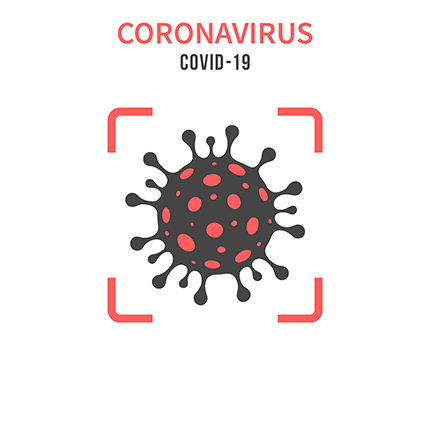 An illustration of the Coronavirus with text above it. Title reads: Coronavirus COVID-19.