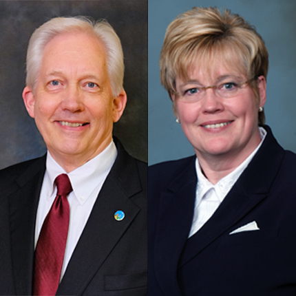 Glenn Johnson and Beth Thew, CCS board of trustees