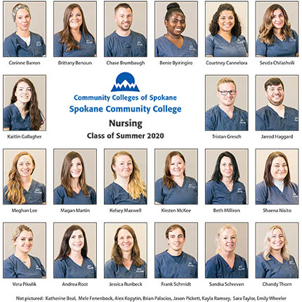 A photo collage of the nursing students who graduated from SCC in summer 2020