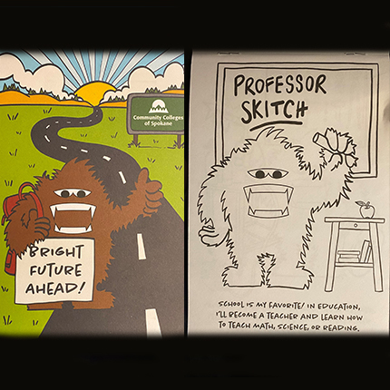A side-by-side photo showing the front of a coloring book showing Skitch holding a sign, and a black-and-white coloring book page showing Skitch holding a pencil.