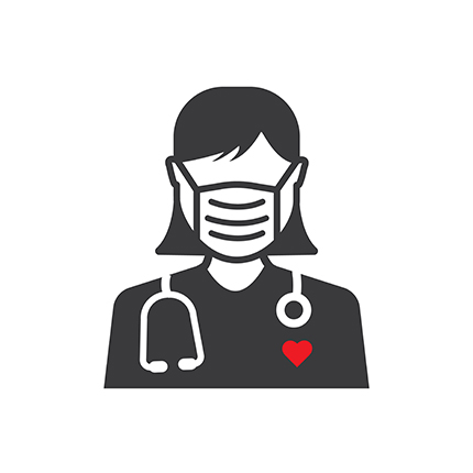 An illustration of a nurse who is wearing a facemask and has a stethoscope around her neck. She is black and white.