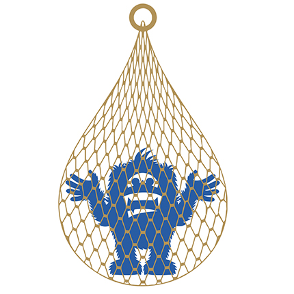An illustration of Skitch the Sasquatch in a golden net.
