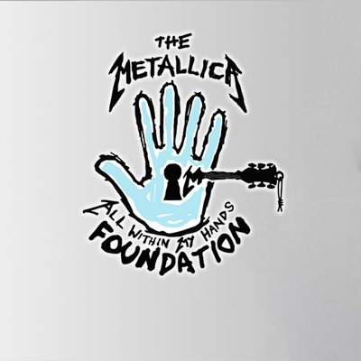 The Metallica All Within My Hands Foundation logo on a gray background
