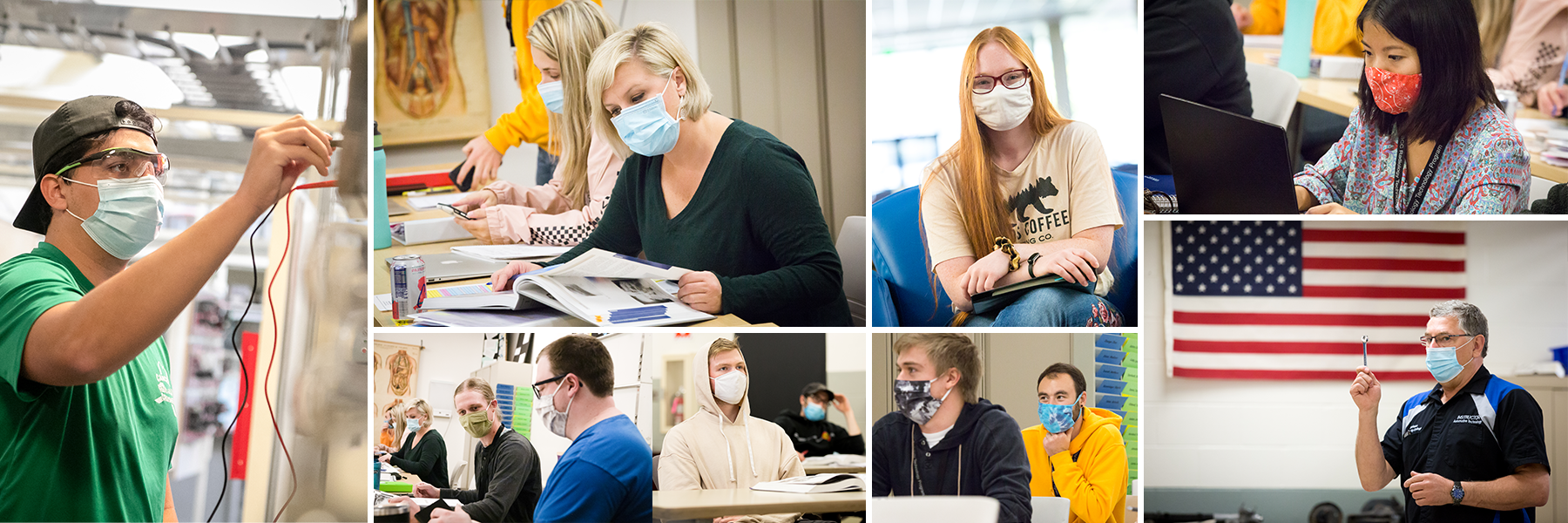 A collage of multiple SCC students wearing masks sitting in classes, talking to peers, smiling and laughing.