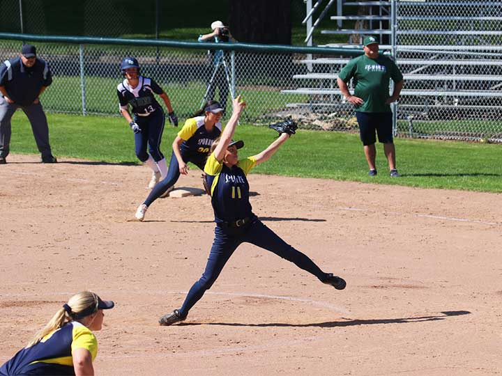 Softball pitcher winding up for the pitch