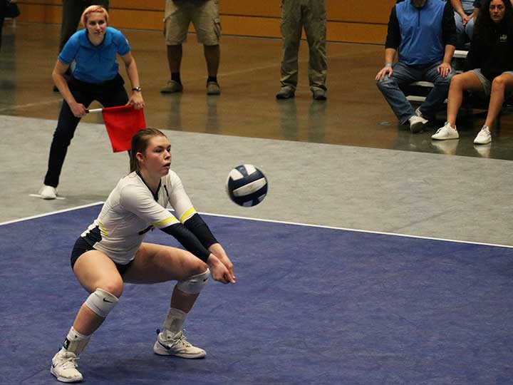 Volleyball player preparing to hit the ball