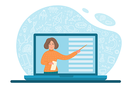 An illustration of a laptop and a woman pointing to the screen.